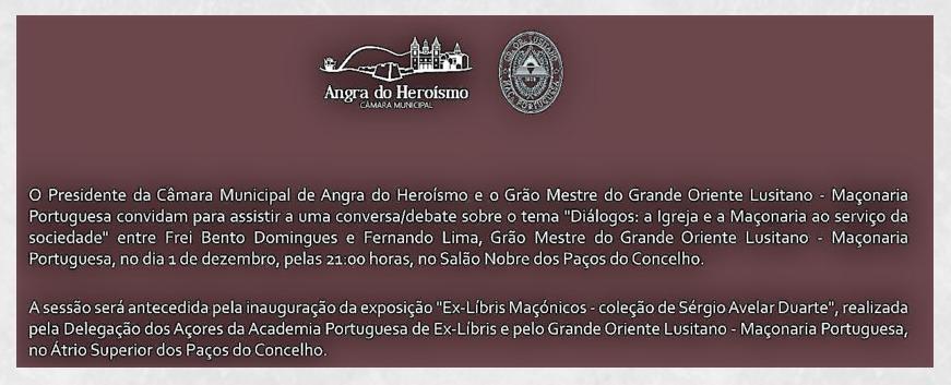 Câmara Municipal de Angra promove Exposição e Debate com a Maçonaria